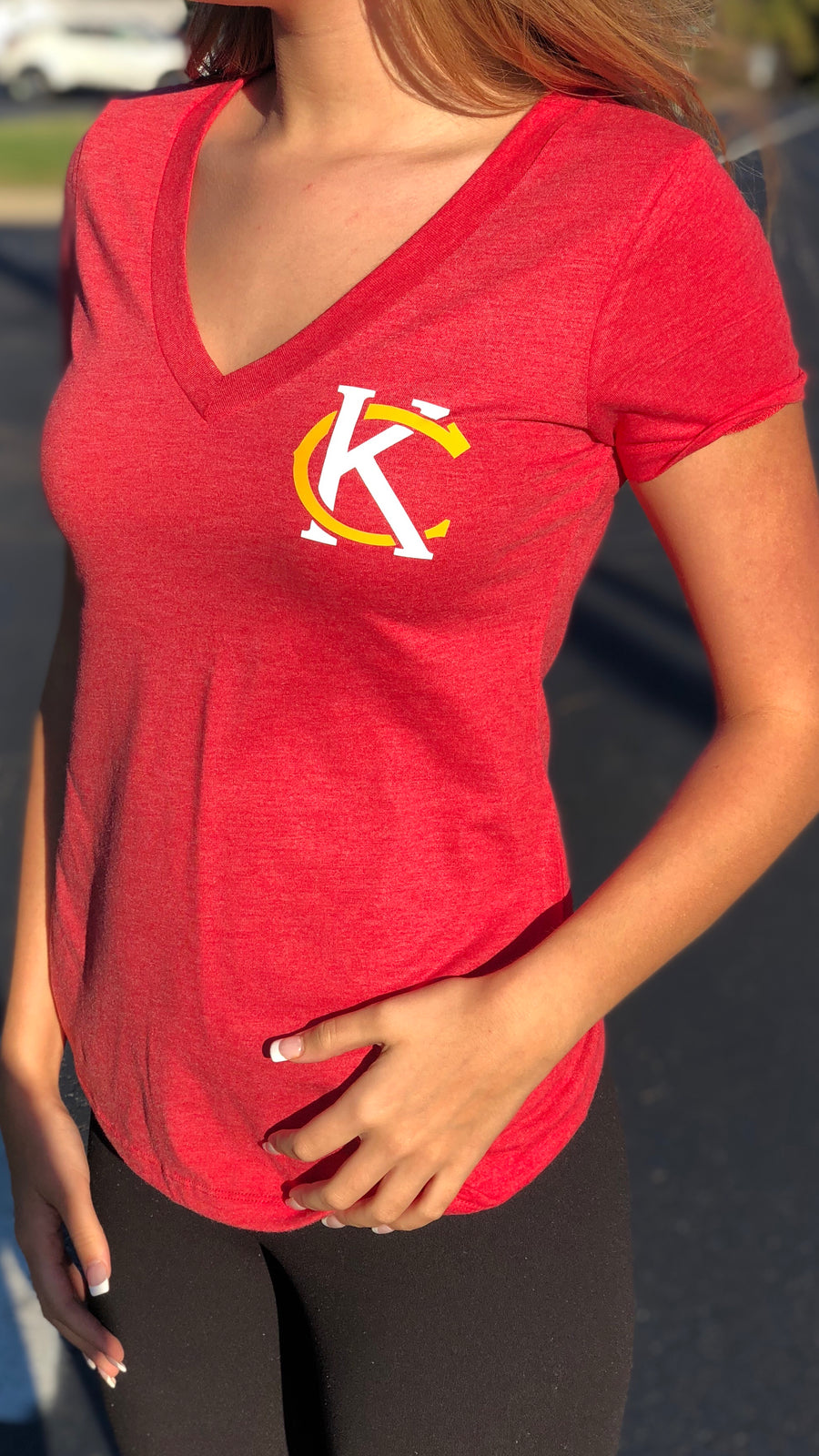 """Kc Logo"" - Next Level - Women's Triblend Deep V"