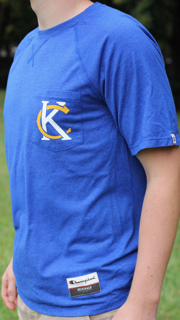 """KC Logo"" Champion - Unisex Originals Soft-Wash Pocket Tee"