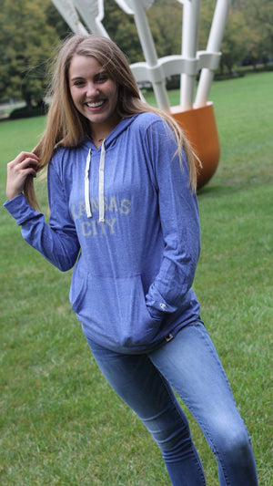 """Kansas City"" Champion - Unisex Originals Triblend Hooded Pullover"