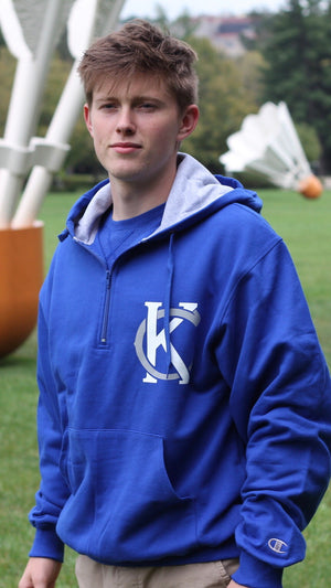"""KC Logo"" Champion - Unisex Cotton Max Hooded Quarter-Zip Sweatshirt"