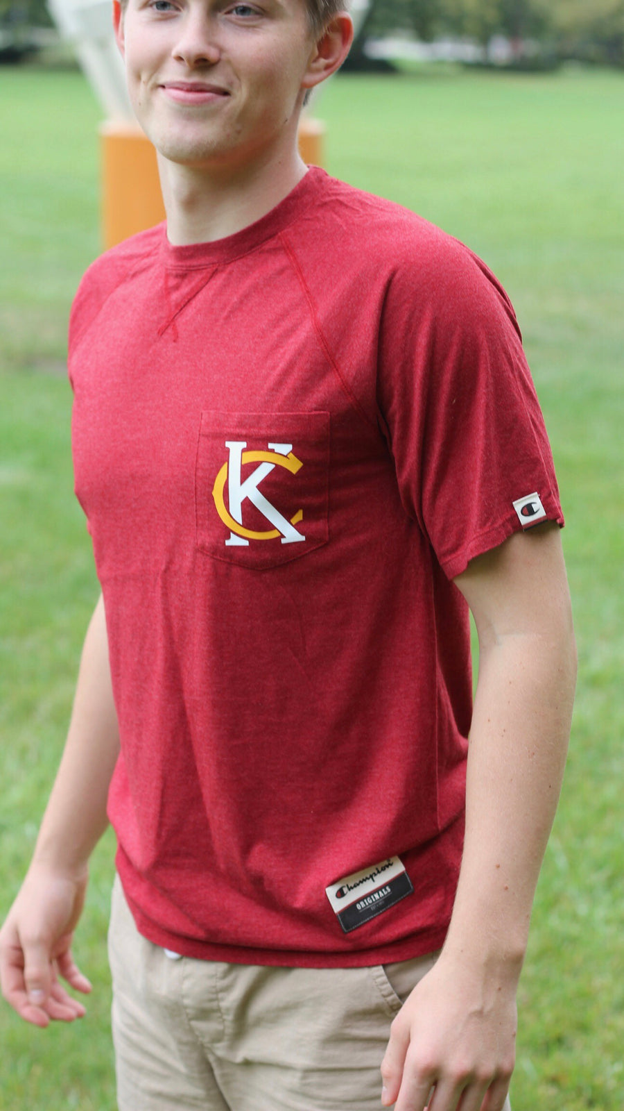 """KC Logo""- Champion - Unisex Red Originals Soft-Wash T-Shirt"