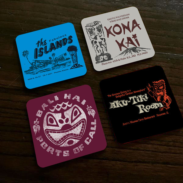 Set 2 - Four Tiki Bar Coasters