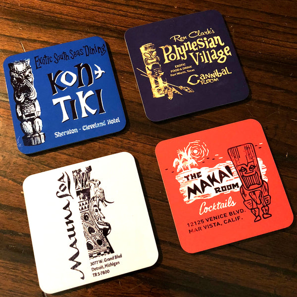 Set 3 - Four Tiki Bar Coasters