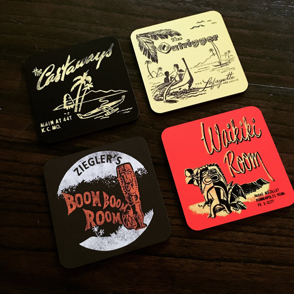 Set 1 - Four Tiki Bar Coasters