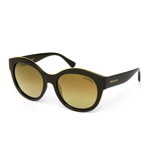 Locello Claudia Sunglasses - Gloss Black Frame, Gold Mirror Lens 1
