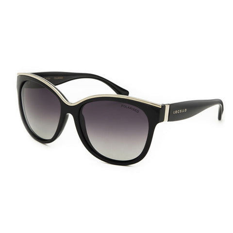 Locello Rosa Sunglasses - Gloss Black with Gold Detail Frame, Smoke Gradient Lens - 1
