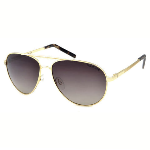 Locello Celia Sunglasses - Gold Frame, Graduated Brown Lens 1