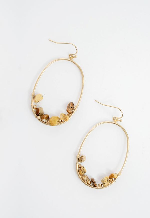 Kay Celine Accessories OS / Gold Brinley Oval Stone Earrings