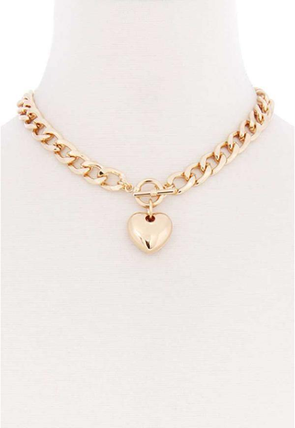 Kay Celine Accessories OS / Gold Heart Chain Link Necklace