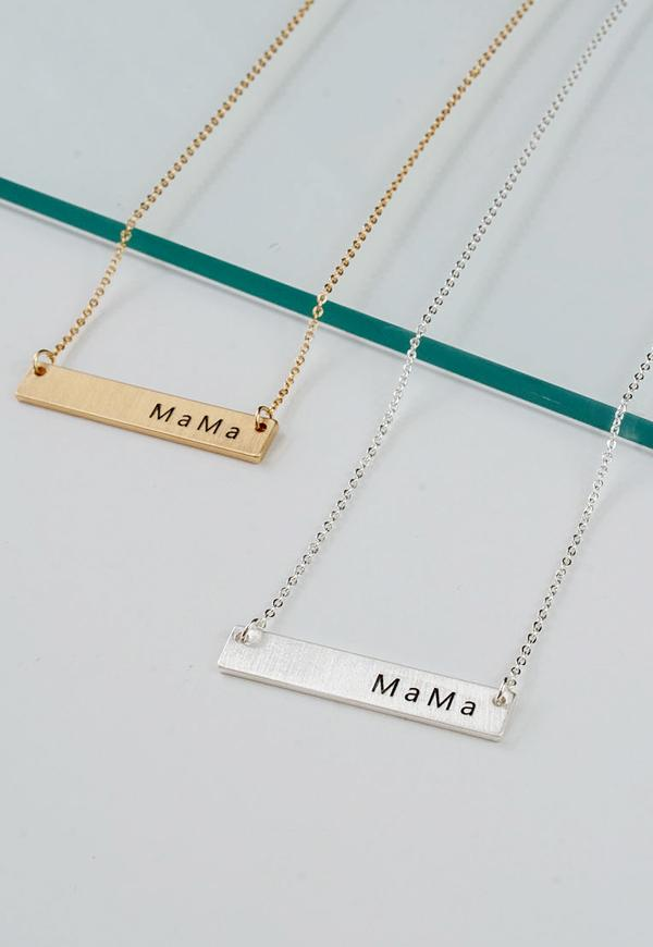 Kay Celine Accessories OS / Gold Mama Bar Necklace