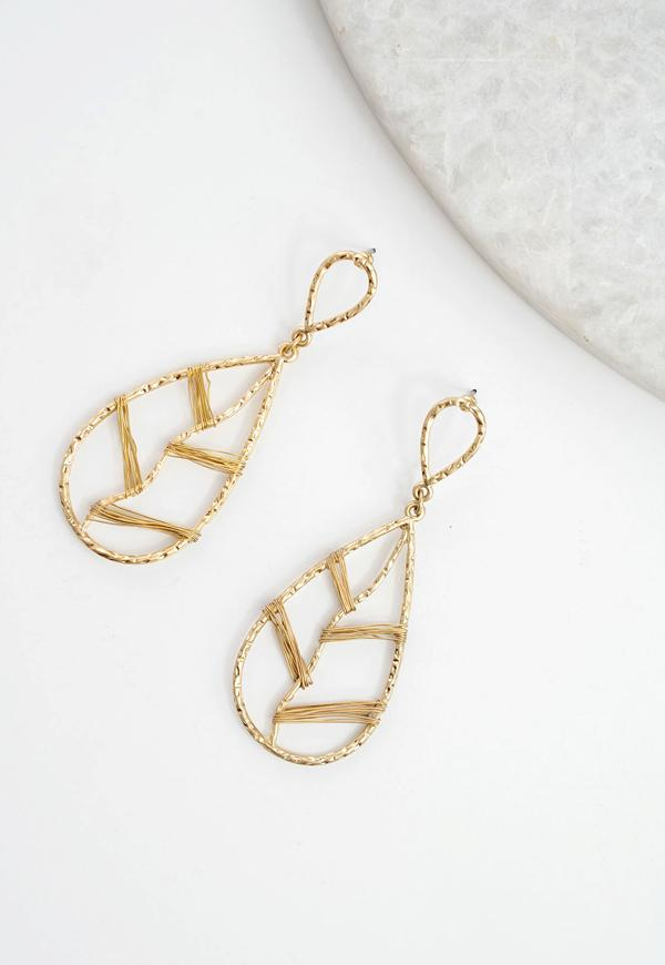 Kay Celine Accessories OS / Gold Sage Tear Drop Earrings