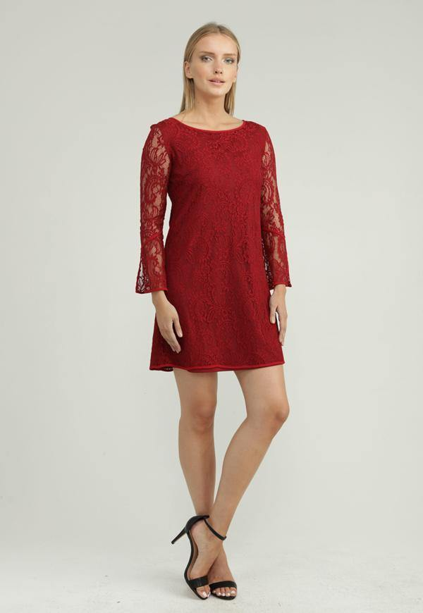 Kay Celine Dress XS / Merlot-Lace Anyp-lace Dress