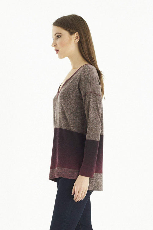 Kay Celine Sweater Becky Printed Knit Sweater in Merlot Ombre