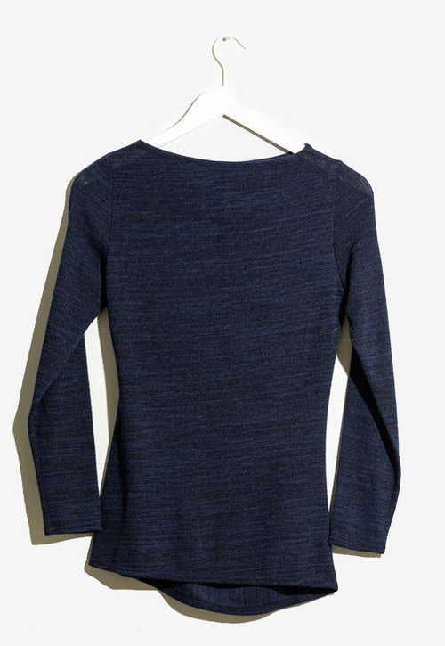 Kay Celine Sweater Gina Textured Knit Top in Navy
