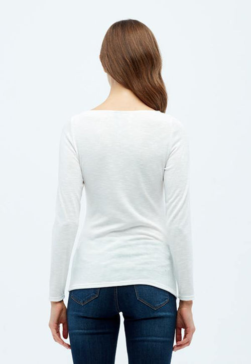 Kay Celine Sweater Gina Textured Knit Top in Off White