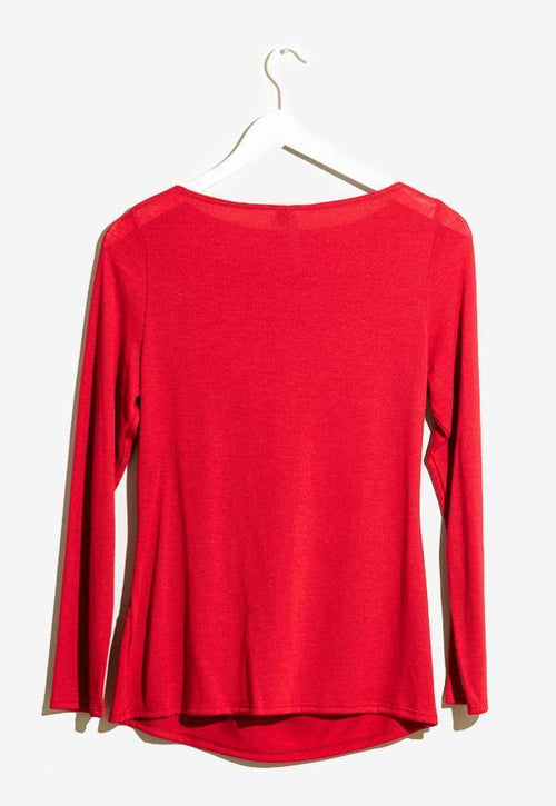 Kay Celine Sweater Gina Textured Knit Top in Red