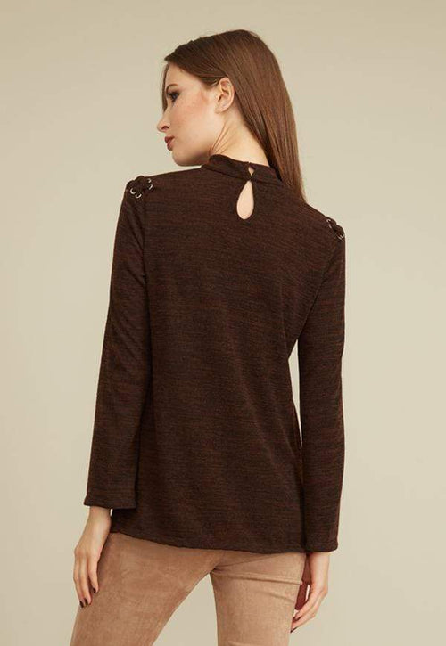 Kay Celine Sweater Selena Textured Knit Top in Heather Brown