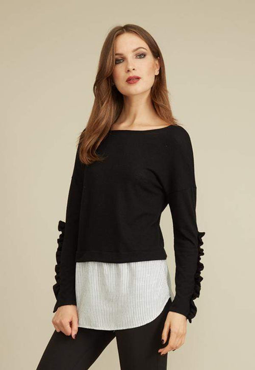 Kay Celine Sweater XS / Black Norit Textured Knit Top