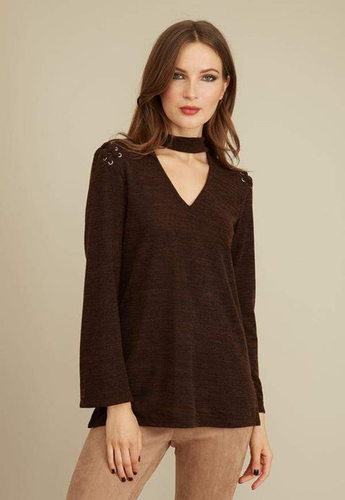 Kay Celine Sweater XS / Heather-Brown-TK Selena Textured Knit Top in Heather Brown