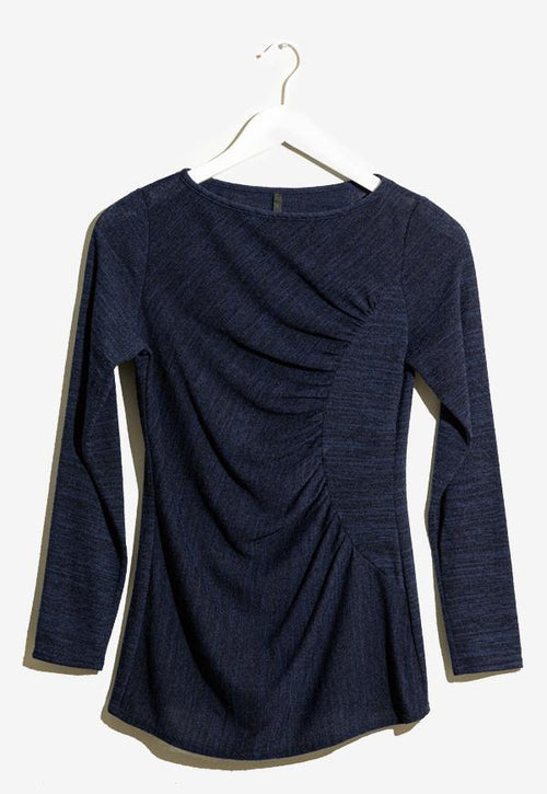 Kay Celine Sweater XS / Heather-Navy-TK Gina Textured Knit Top in Navy