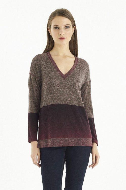 Kay Celine Sweater XS / Merlot-Ombre Becky Printed Knit Sweater in Merlot Ombre