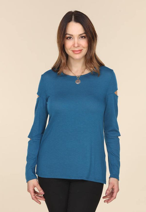 Kay Celine Sweater XS / Teal Deja Textured Knit Top in Teal