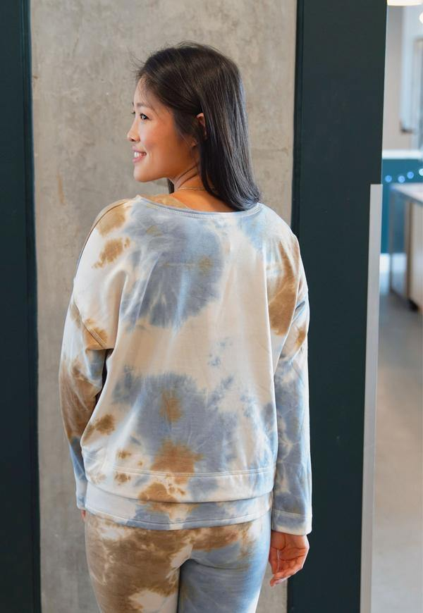 Kay Celine Top Aaliyah Tie Dye Knit in Dusty Blue