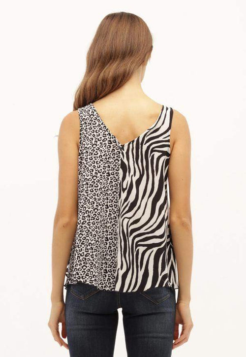 Kay Celine Top Animal Print Bow Tank
