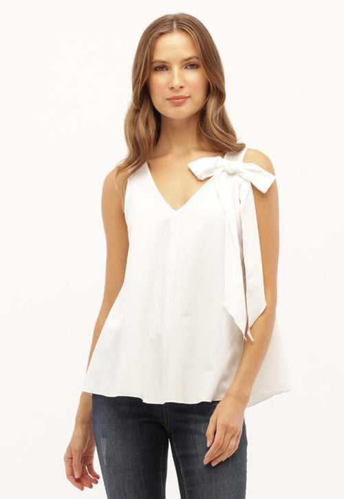 Kay Celine Top Bow Tank in Off White