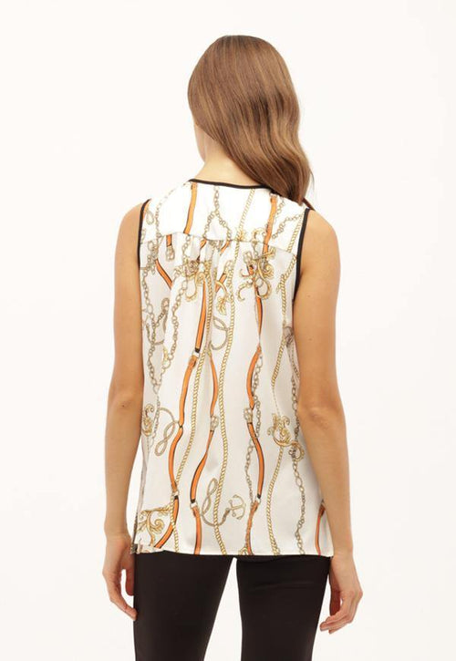 Kay Celine Top Chain Print Blouse in Off White/Apricot