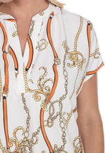 Kay Celine Top Chain Print Relaxed Top in Off White/Apricot