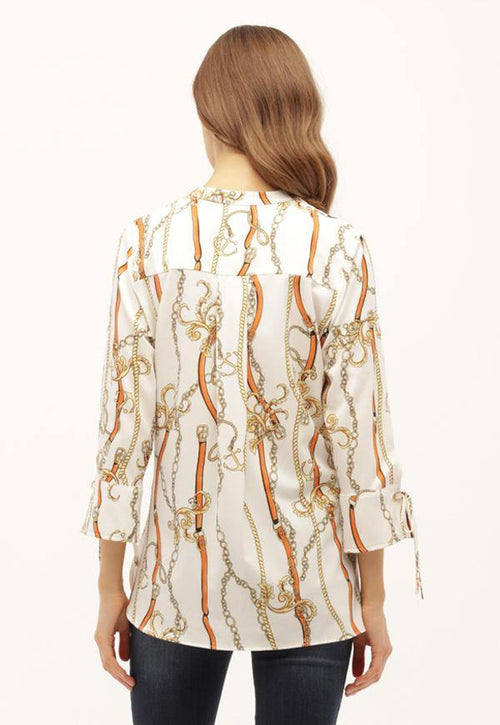 Kay Celine Top Chain Print Top in Off White/Apricot