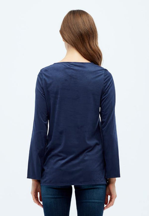 Kay Celine Top Cindy Suede Studded Top in Navy