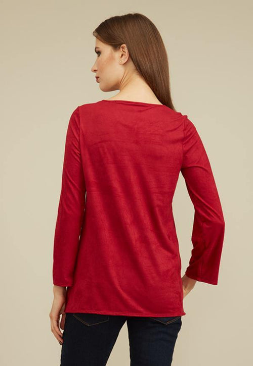 Kay Celine Top Cindy Suede Studded Top in Ruby
