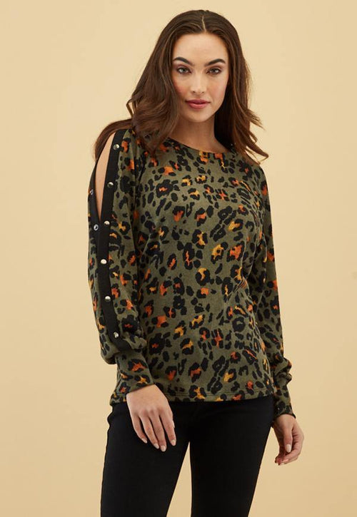 Kay Celine Top Constance Knit in Cheetah