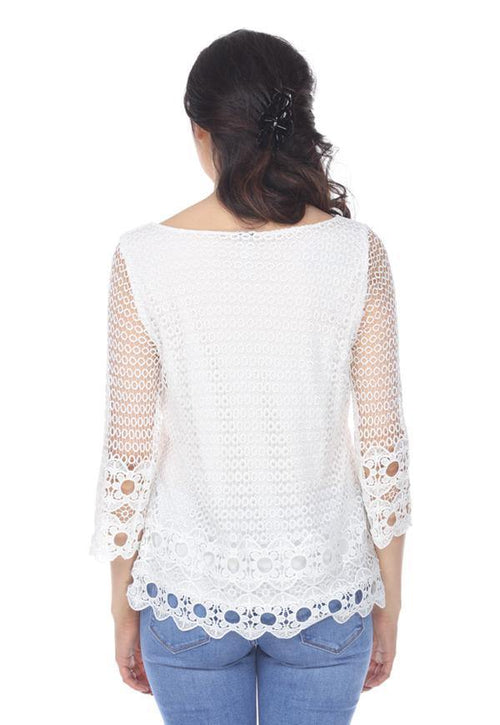 Kay Celine Top Crochet Lace Top in Off White