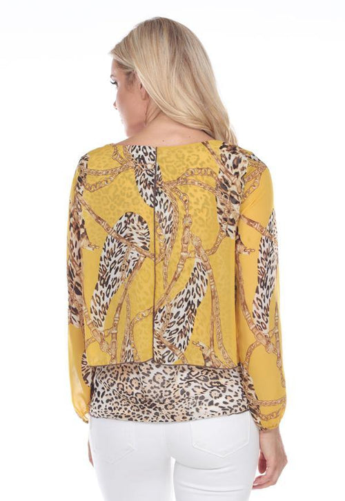 Kay Celine Top Darcy Mixed Print Blouse