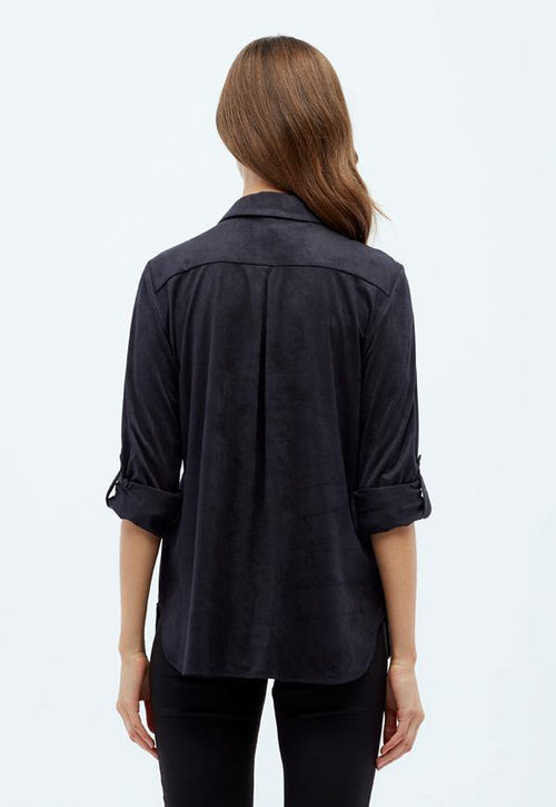 Kay Celine Top Erin Suede Blouse in Charcoal