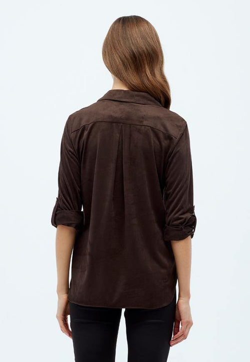 Kay Celine Top Erin Suede Blouse in Chocolate