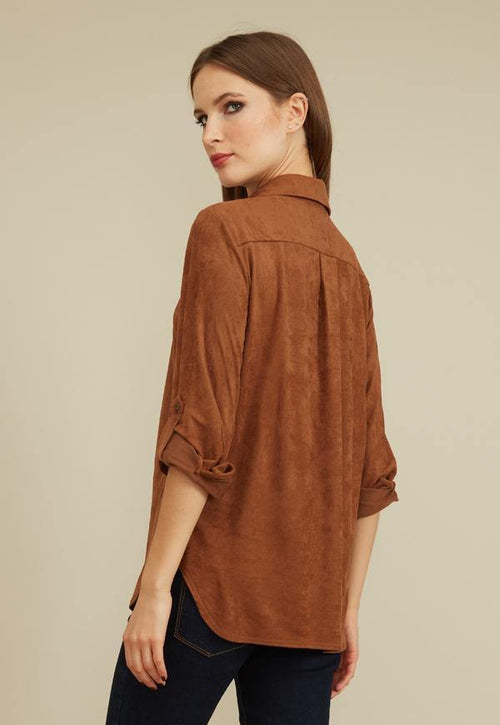 Kay Celine Top Erin Suede Blouse in Cocoa