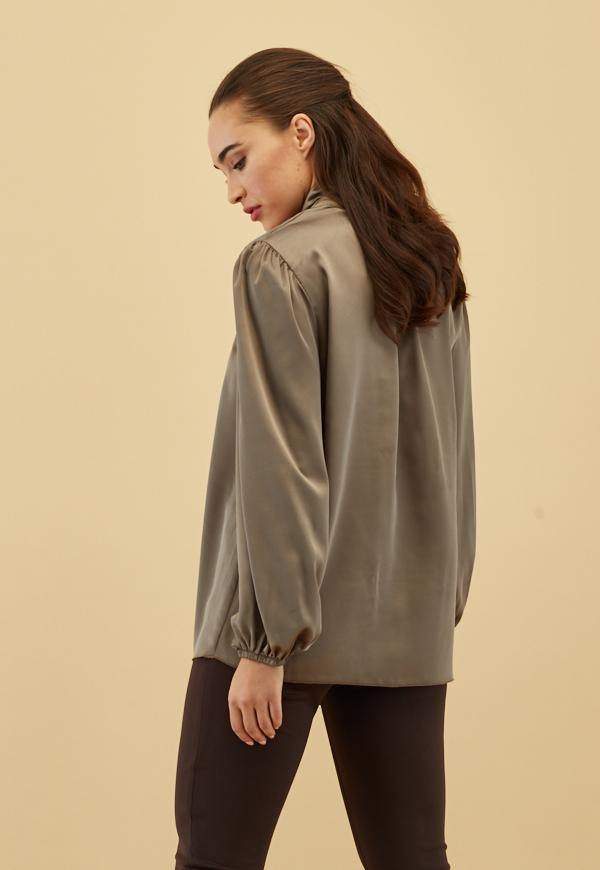 Kay Celine Top Evie Tie Neck Blouse in Pewter
