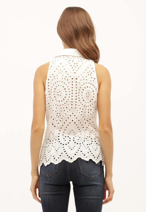Kay Celine Top Eyelet Top in Off White