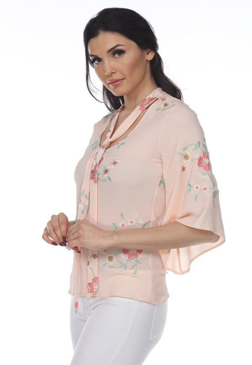 Kay Celine Top Floral Embroidered Tie Neck Top in Peach