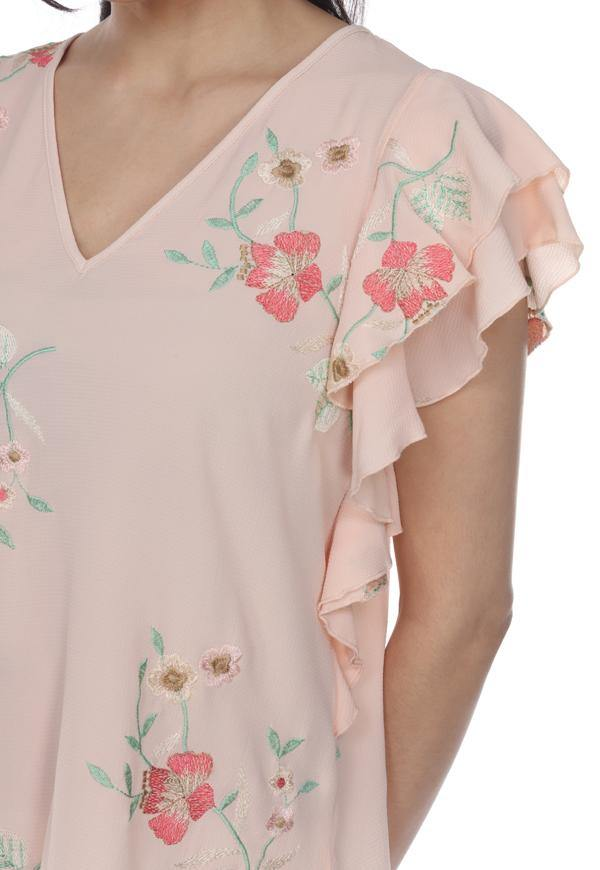 Kay Celine Top Floral Embroidered Top in Peach