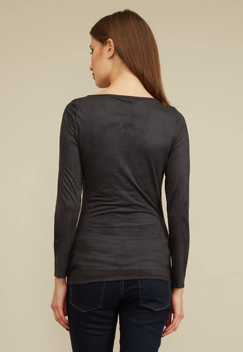 Kay Celine Top Gina Suede Top in Charcoal