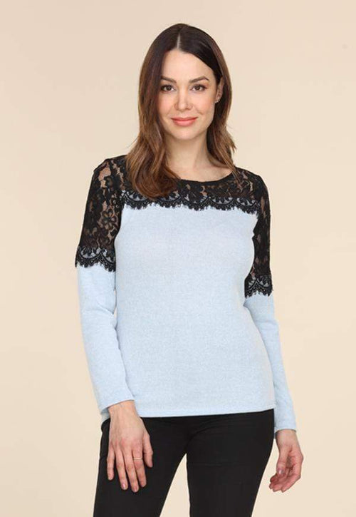 Kay Celine Top Janice Textured Knit Top in Sky