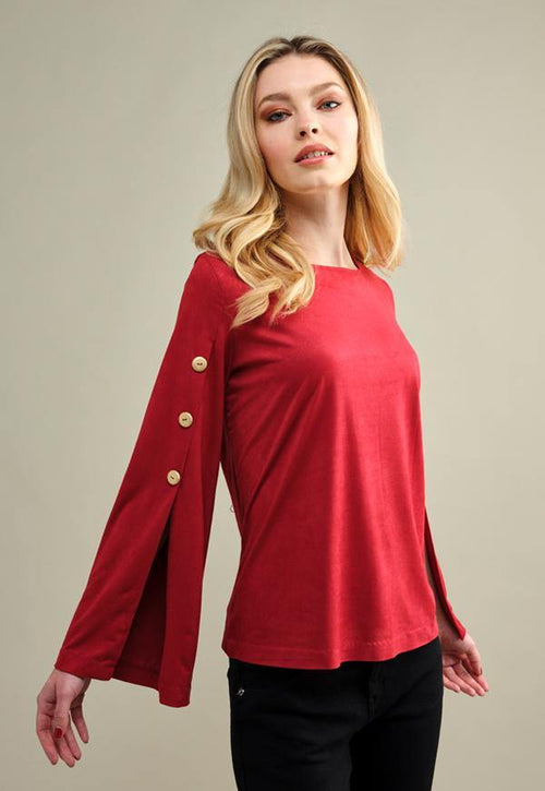 Kay Celine Top Jordyn Suede Top in Red