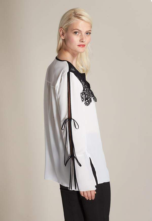Kay Celine Top Lace Applique Top in Off White