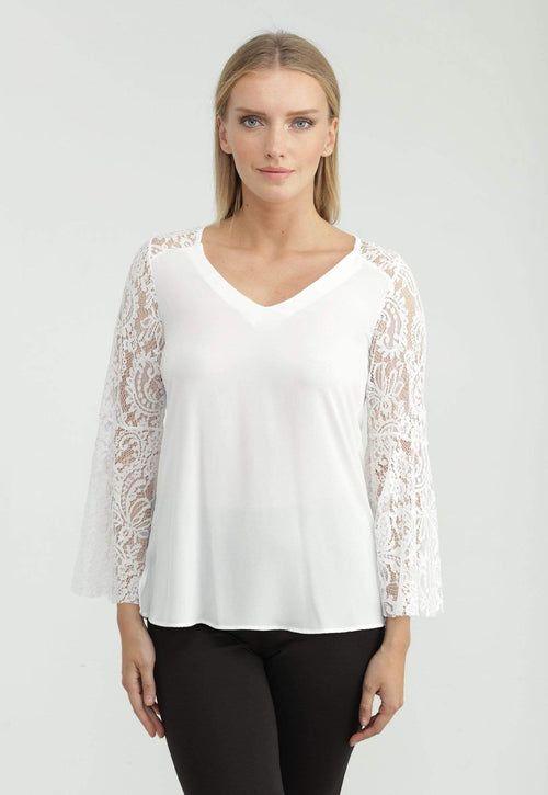 Kay Celine Top Lace Bell Sleeve Top in Off White