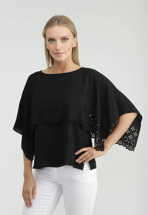 Kay Celine Top Laser Cut Capelet Top in Black